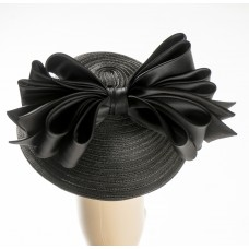 Black Tweed Straw Hat w/black satin bow