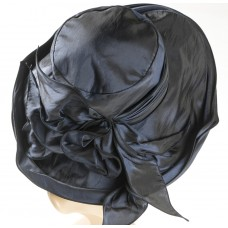 Navy Blue Satin Flare hat w/wide ban, bow in back