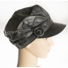 Black Leather Cap w/button design