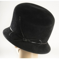 Jennifer Lopez Black Felt Hat w/black patent leather ban