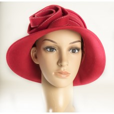 Red Wool Designer Hat w/white stitching and swirl design