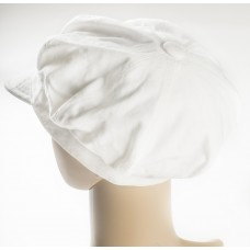 White Cotton Cap w/button top