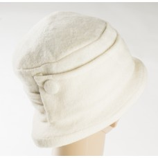 White Wool Hat w/what ban and button