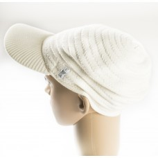 Fitted Creme wide rim Sweater Cap