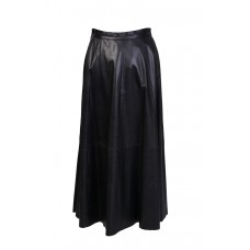 Soft Leather Long Black Skirt