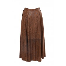 Brown Suede Long Skirt