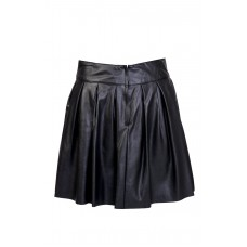 Pleated Leather Black Skirt