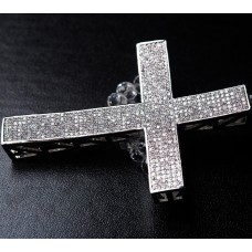 All Silver Cross with Clear Swarovski Crystal Stone Napkin Holder