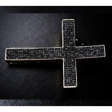 Silver Cross Napkin Holder with jet Swarovski Crystals