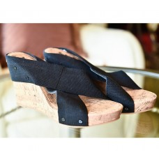 "4"" Wooden Wedge Sandal with Black Crisscrossed Straps"