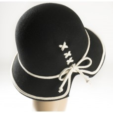 Black Felt Hat trimmed in w/silk rope, criss crossed in black