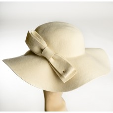 Creme Wool Floopy Hat w/bow on the side