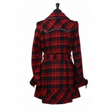 Black & Red Wool Coat