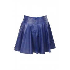 Pleated Ultra Suede Blue Skirt