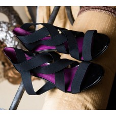 Black Open Toe Shoe with Black Crisscrossed Straps